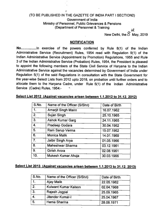 38 HCS officers promoted to IAS