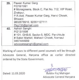 Empanelled Advocates list to conduct cases on behalf of Boards, Corporations and other Corporate bodies of Haryana: