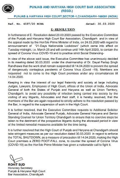 Punjab and Haryana High Court Bar Association decides to suspend work till April 14