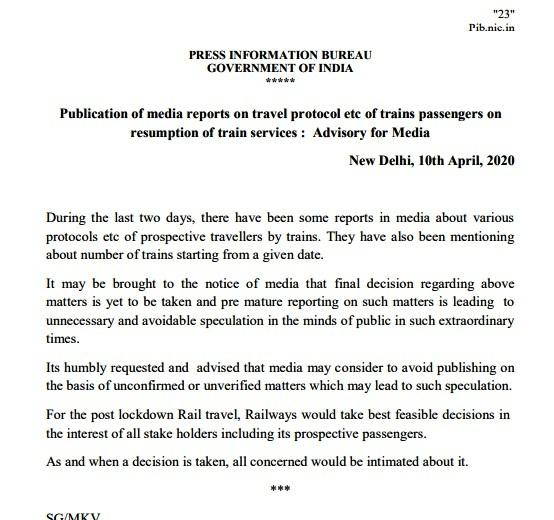 Railways issue Advisory for Media amid coronavirus outbreak