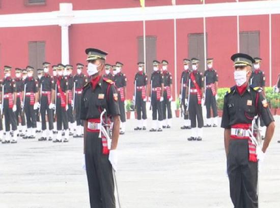 With face masks on, passing out parade held at IMA
