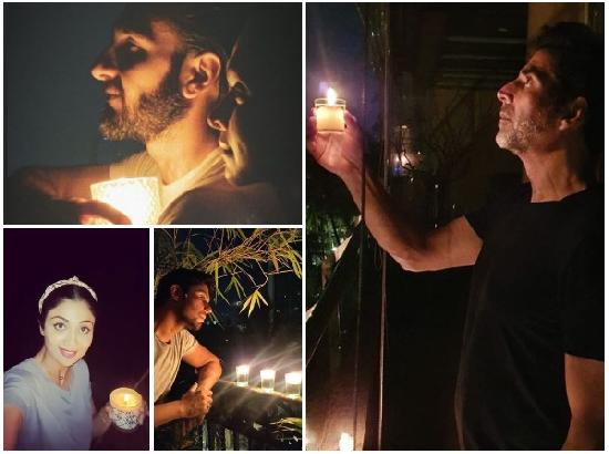B-town celebs stand in solidarity with frontline workers by lighting diyas, candles