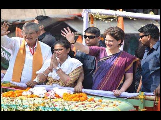 Priyanka's huge roadshow in Assam