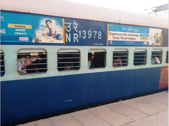 8th Shramik Express Train moves from Ferozepur for Lucknow