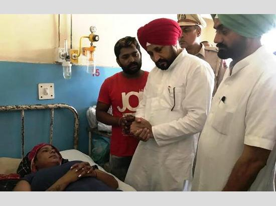 Cabinet Minister Charanjit Singh Channi enquires after victim Meena Rani