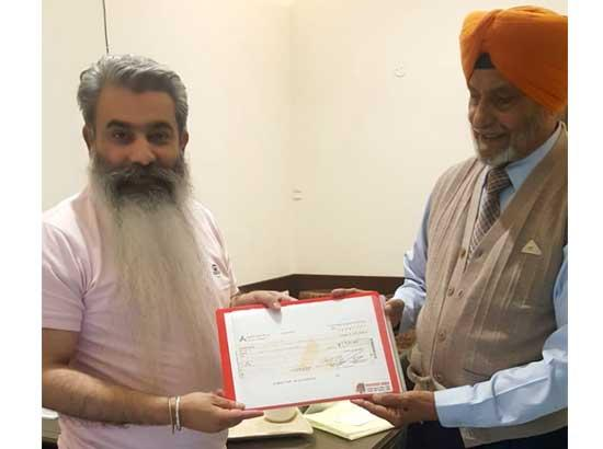 Ex-Commandant donates Rs. 5 Lakh from pension account for CM Relief Fund