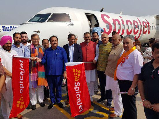 Delhi to Adampur first flight flagged off by Vijay Sampla