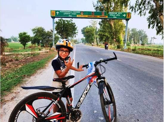 Kanav, 9-year-old covers 613 km cycling in a month under Mission Fateh