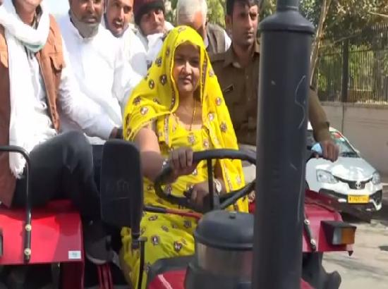 Congress MLA reaches state assembly on tractor to support protesting farmers