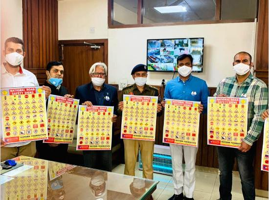 Meena, SSP Ferozepur releases National Road Safety Poster by Mayank Foundation