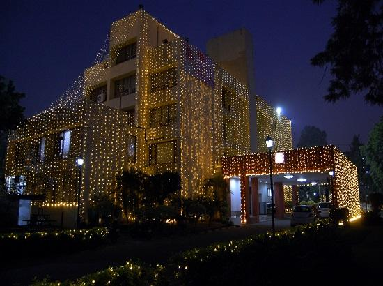 Punjab Bhawan Delhi decorated with lights to mark the 550th Parkash Purb of Guru Nanak Dev