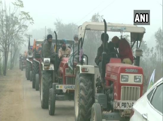 Farmers leave from Ludhiana for Delhi to participate in a tractor march
