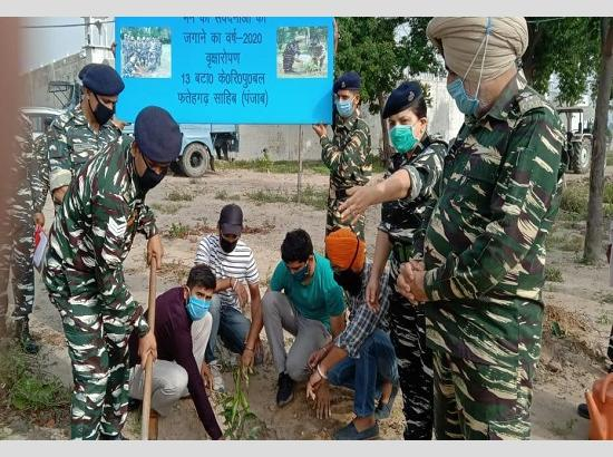 C.R.P.F. Jawans &  NGO of Sirhind jointly initiated mega Plantation Drive