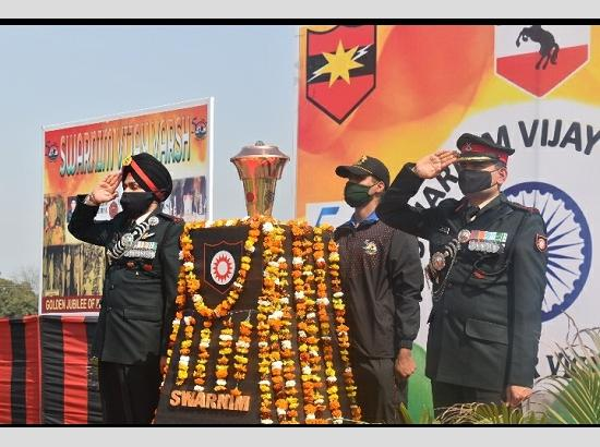 Victory Flame to celebrate 50 years of Indian Victory during 1971 War arrives at Fazilka
