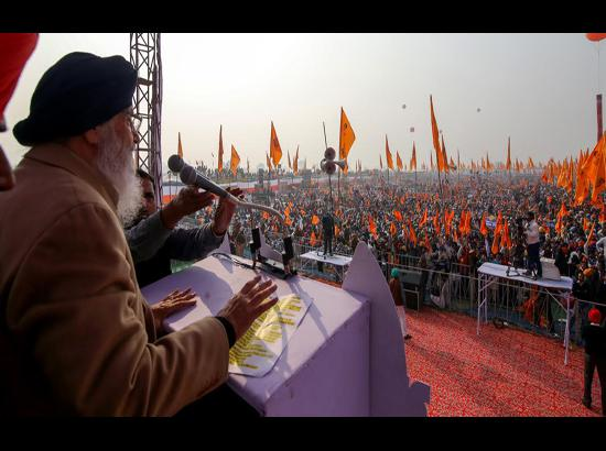 Huge Gathering in Moga Rally of SAD ,  Badal reiterates that Punjab has no spare water to