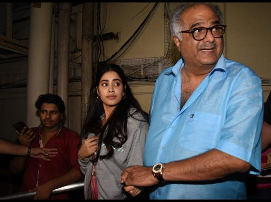 Jhanvi Kapoor with her filmmaker father Boney Kapoor - Special screening of upcoming film