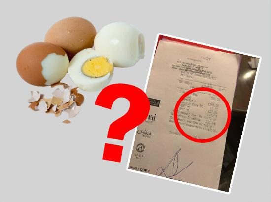 5-star hotel charges Rs 1672 for 3 eggs!