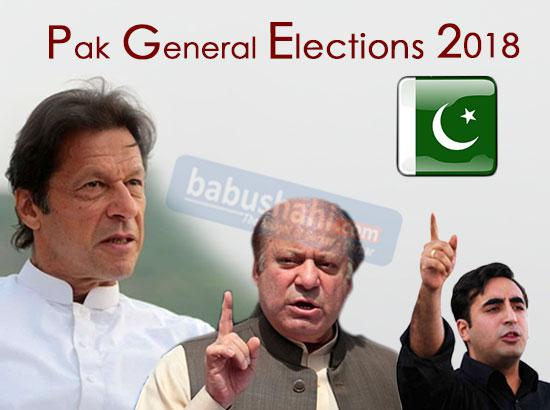 Pak Polls : Imran Khan's PTI -107 ,PML-N-70 , PPP -39 , Others-51 ( 11.50 pm IST )