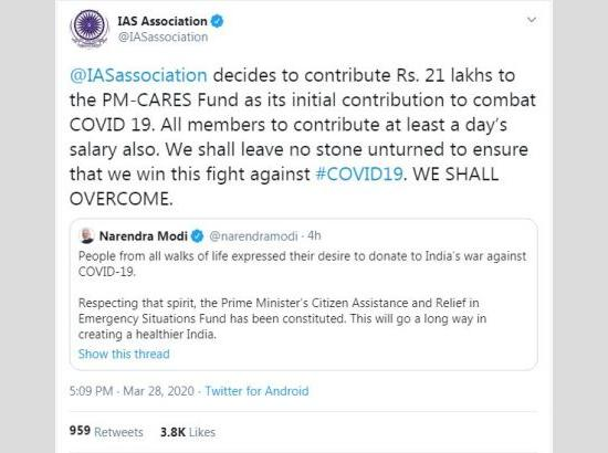 IAS association decides to donate money for PM-CARES