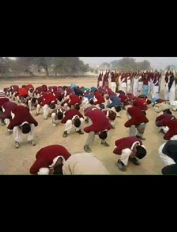 Common scene of Typical Yoga in Schools to keep students fit in the past